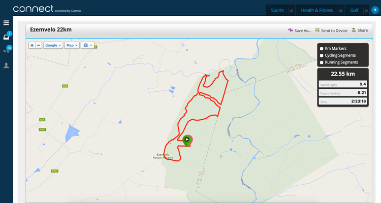 Click the map to load the 22km route files on Garmin Connect.