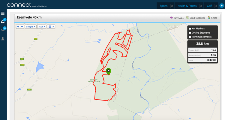 Click the map to load the 40km route files on Garmin Connect.